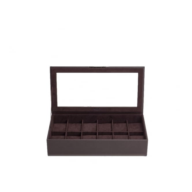 309806 Brown Wristwatch Tray With Lid Holds 12 Pieces