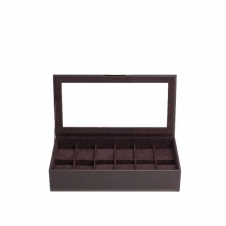 Wolf 309806 Brown Wristwatch Tray With Lid Holds 12 Pieces