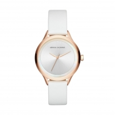 Armani Exchange AX5604 White Leather Rose Gold Tone Wristwatch