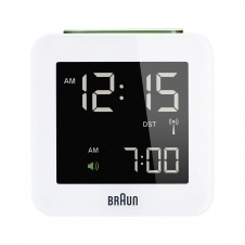 Braun BNC009WH-RC Digital Global Radio Controlled Travel Alarm Clock White