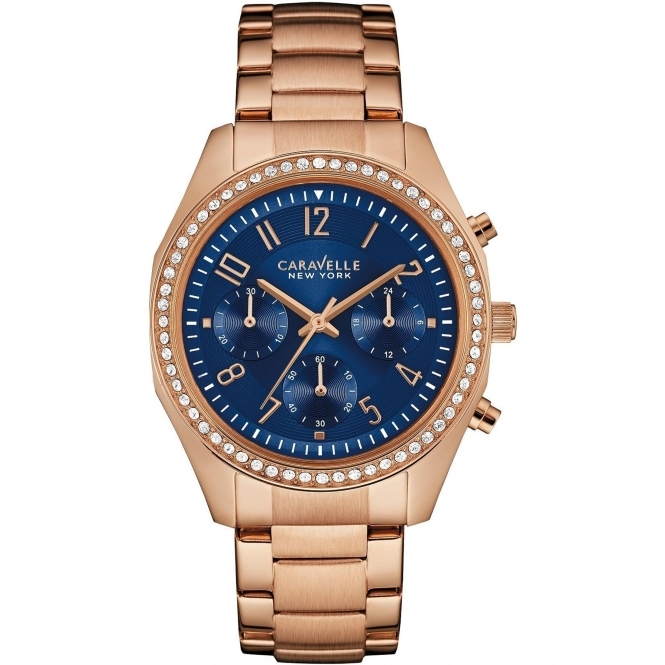 Caravelle New York 44L196 Women's' Rose-Gold Tone Chronograph Wristwatch