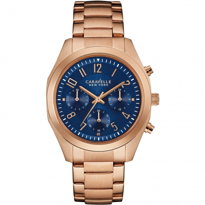 Caravelle New York 44L199 Women's' Rose-Gold Tone Chronograph Wristwatch