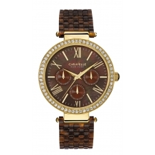 Caravelle New York 44N102 Ladies Brown Plastic Strap Watch