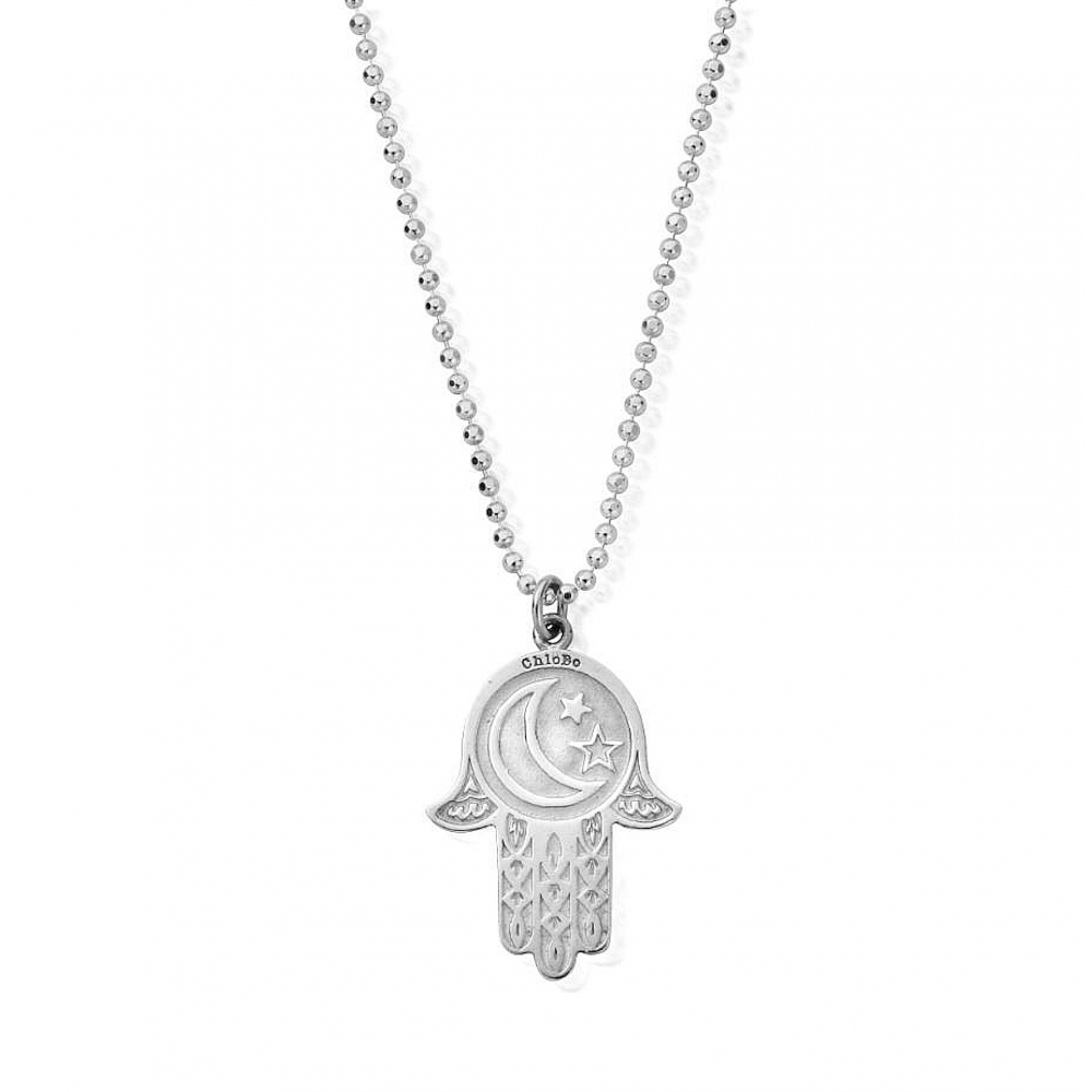 Buy chlobo scdc1655 diamond cut chain with moon and star hamsa hand chlobo scdc1655 diamond cut chain with moon and star hamsa hand pendant mozeypictures