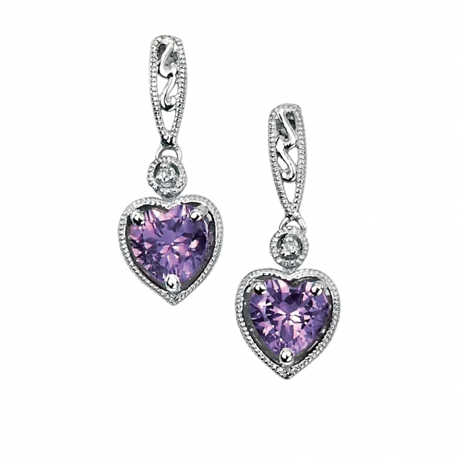 Elements Gold GE733M White Gold Amethyst And Diamond Earrings