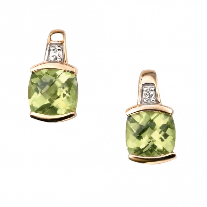 Elements Gold GE754G Yellow Gold, Peridot And Diamond Earrings