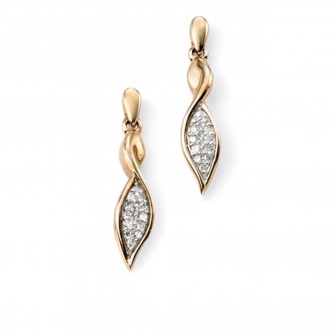 Elements Gold GE951 Yellow Gold Twist Drop Earrings Set With Pave Diamonds
