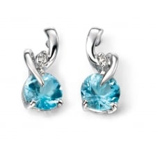 Elements Gold GE994T White Gold Blue Topaz And Diamond Earrings
