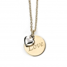 Elements Gold GN232 Yellow And White Gold Love Necklace