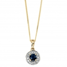 Elements Gold GP682L GN142 Yellow Gold Sapphire And Diamond Pendant Plus Chain