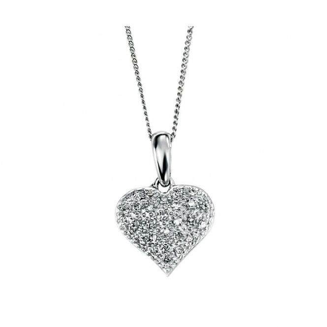 Elements Gold GP691 GN200 Diamond Heart Pendant On White Gold Chain