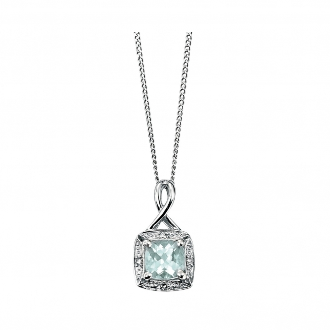 Elements Gold GP709T GN143 White Gold Aquamarine And Diamond Pendant Plus Chain