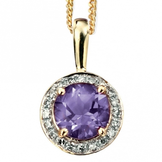 Elements Gold GP731M GN202 Yellow Gold Amethyst And Diamond Pendant On Gold Chain