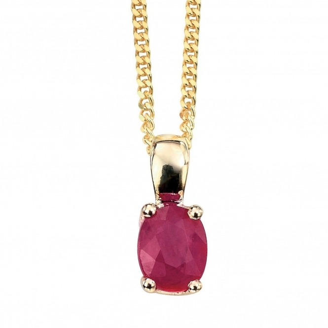 Elements Gold GP751R GN184 Oval Ruby Pendant On A Yellow Gold Chain