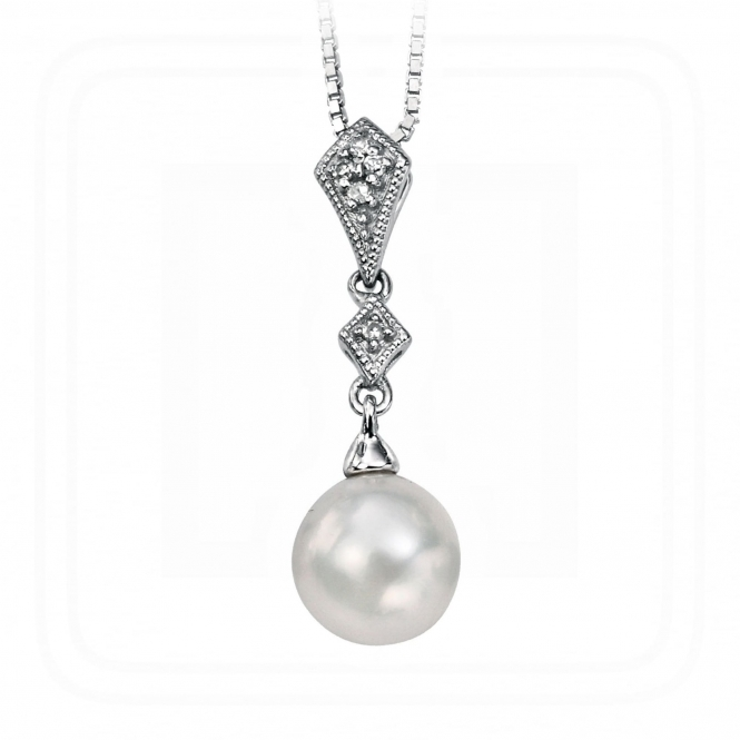 Elements Gold GP785W GN200 9ct Freshwater Pearl Pendant On A White Gold Chain