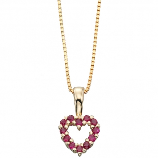 Elements Gold GP807R GN049 Oval Ruby Pendant On A Yellow Gold Chain