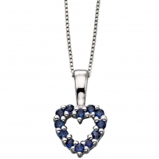 Elements Gold GP810L GN151 Sapphire Heart Pendant On White Gold Box Chain