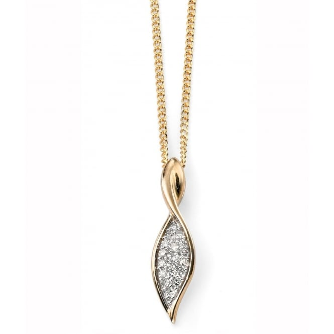 Elements Gold GP936 GN142 Diamond Set Twist Drop Pendant On A Yellow Gold Chain
