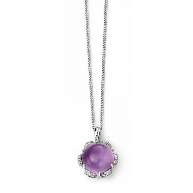 Elements Gold GP949M GN200 Amethyst Cabochon Pendant On White Gold Chain