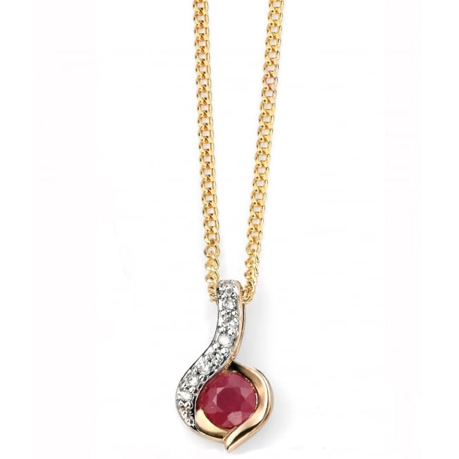 Elements Gold GP967R GN142 Diamond And Ruby Pendant On A Yellow Gold Chain