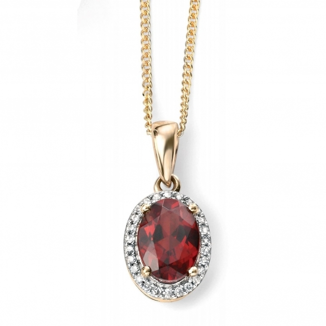 Elements Gold GP970R GN141 Diamond Garnet Cluster Pendant On A Yellow Gold Chain