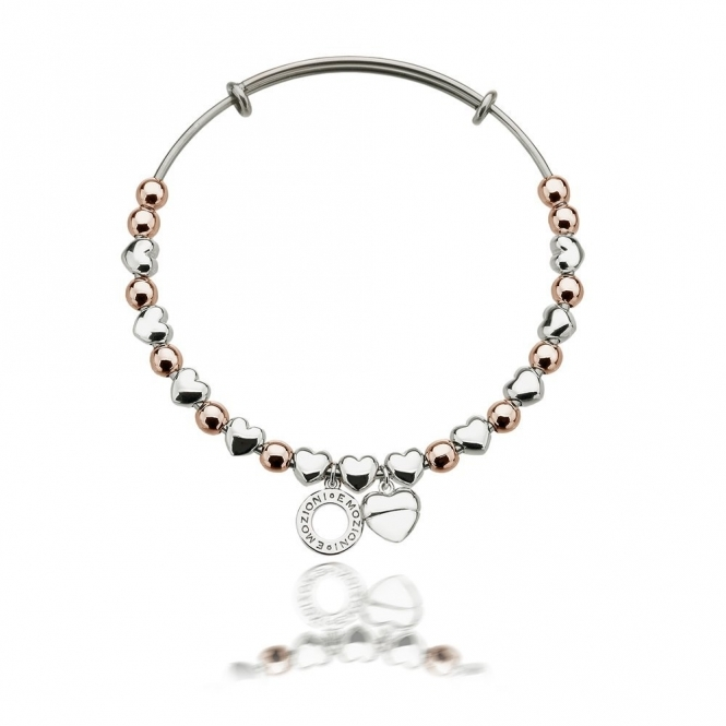 Emozioni DC096 Rose Gold And Silver Plate Heart Bangle