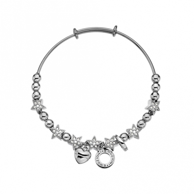Emozioni DC143 Silver Plate Crystal Star Bangle