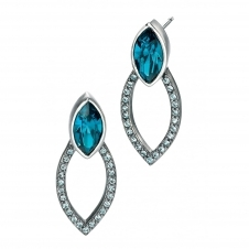 Fiorelli Silver E4680T Silver Blue Marquise Stone Set Stud Earrings