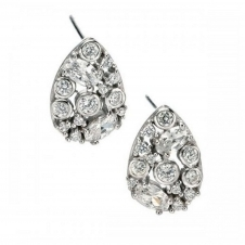 Fiorelli Silver E4872C Silver Stone Set Teardrop Stud Earrings