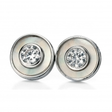 Fiorelli Silver E4992W Silver Stone Set Stud Earrings