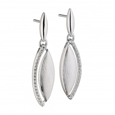 Fiorelli Silver E5185C Silver Marquise Stone Set Drop Earrings