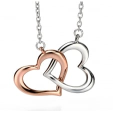 Fiorelli Silver N3722 Silver Two Tone Linked Hearts Necklace