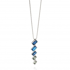 Fiorelli Silver P4388 Silver Necklace with Blue And Green Crystals
