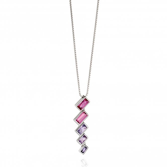 Fiorelli Silver P4389 Silver Necklace with Pink And Purple Crystals