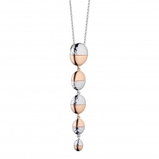 Fiorelli Silver P4397 Hammered Oval Drop Pendant