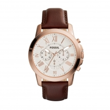 Fossil FS4991 Grant Chronograph Brown Leather Wristwatch