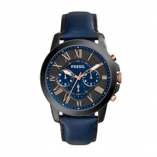 Fossil FS5061 Grant Chronograph Blue Leather Wristwatch