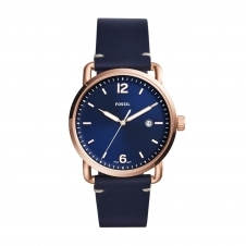 Fossil FS5274 The Commuter Three Hand Blue Leather Wristwatch