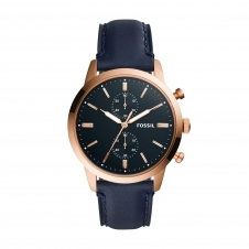 Fossil FS5436 Townsman Chronograph Navy Blue Leather Wristwatch