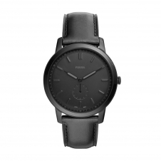 Fossil FS5447 The Minimalist Two Hand Black Leather Wristwatch