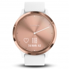 Garmin 010-01850-02 vivomove HR Rose Gold Tone with White Silicone Band Smartwatch