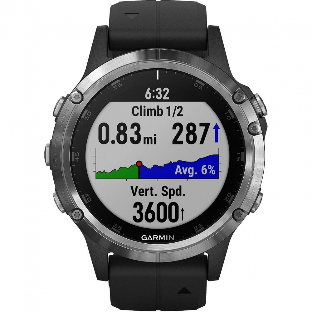 Garmin 010-01988-11 Fenix 5 Plus Silver With Black Band Smartwatch