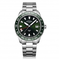 Rotary GB05108-24 Men's Henley Green GMT Wristwatch