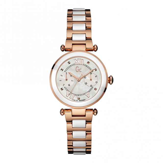 GC Y06004L1 Ladychic White Rose Gold Tone Wristwatch