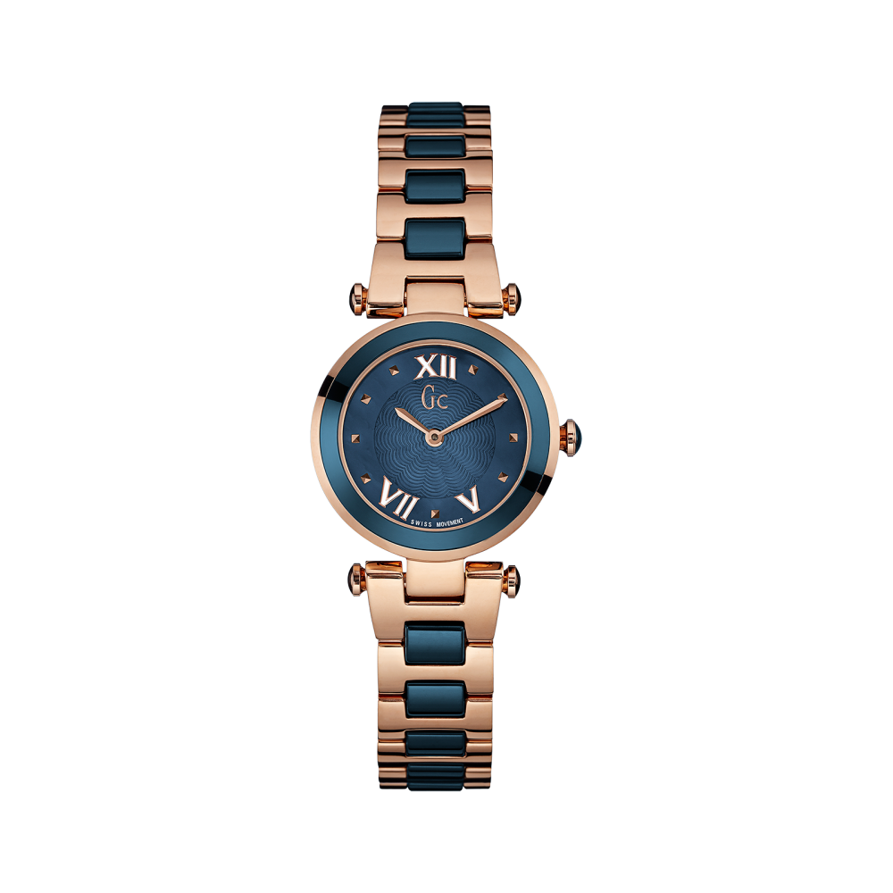 gc y07010l7 ladychic rose gold blue two tone wristwatch