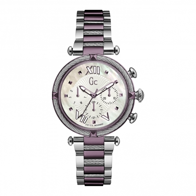 GC Y16003L3 Ladychic Silver/Plum Two Tone Wristwatch