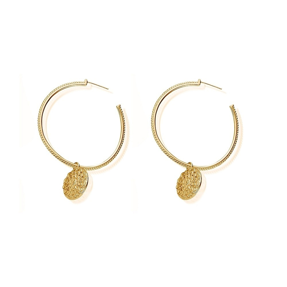 ChloBo GEH778 Women's Moon Flower Hoop Earrings