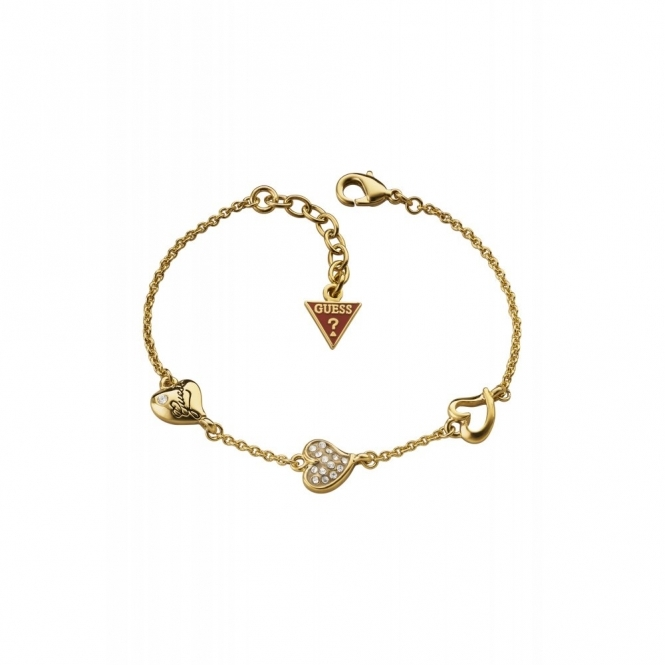 Guess UBB71333 Women's Shimmer Triple Heart Bracelet