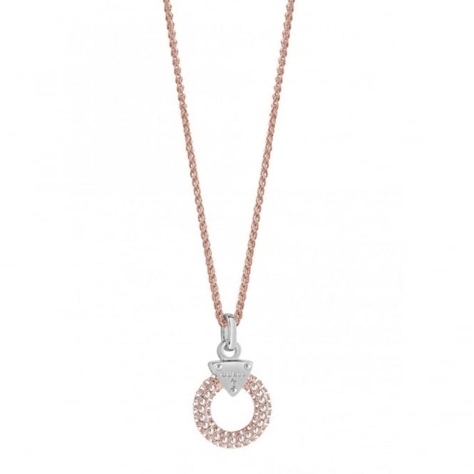 Guess UBN71511 Women's Embrace Me Rose Tone Pave Ring Pendant