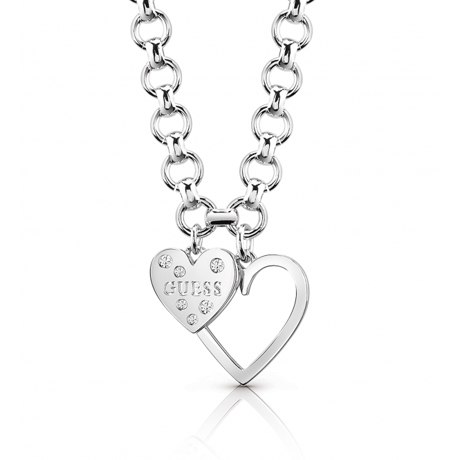Guess UBN84012 Women's Heart In Heart Necklace